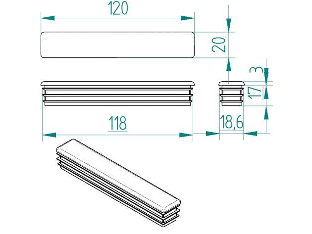 Zwymiarowany szkic plastikowego korka do profili stalowych o wymiarach 120mm x 20mm